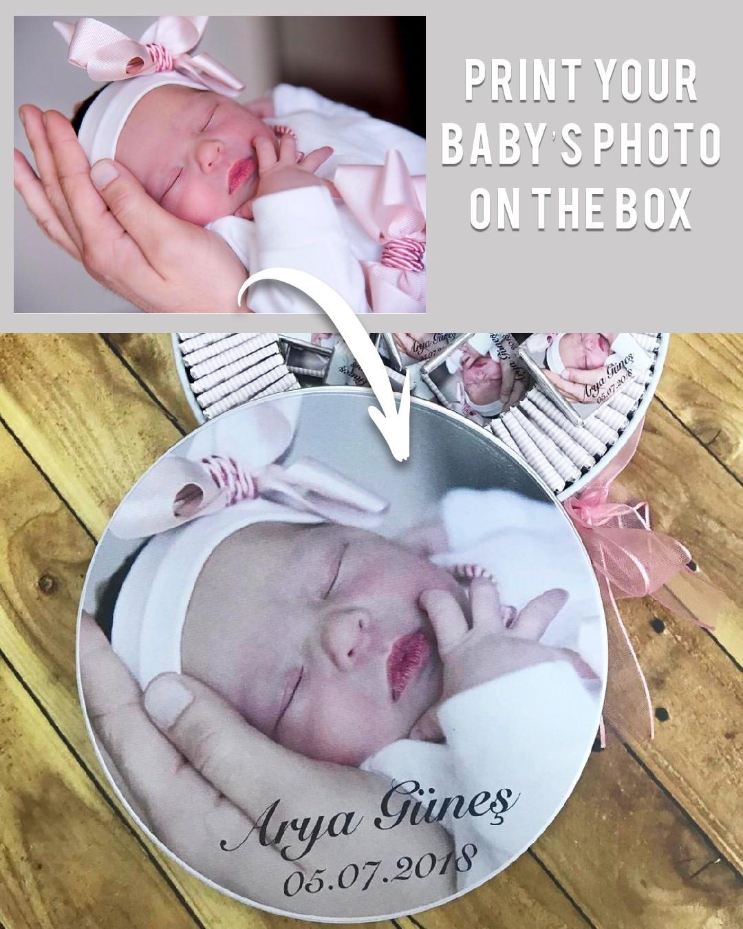 Personalisierte Zinn Box Baby Dusche Junge Mädchen Nach Foto Neugeborenen für Taufe Sneak Keks Schokolade KEINE SCHOKOLADE