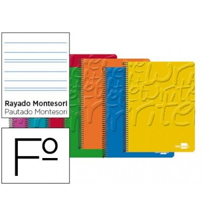 SPIRAL NOTEBOOK LEADERPAPER FOLIO WRITE SOFTCOVER 80H 60 GR STRIPED MONTESSORI 5MM MARGIN ASSORTED COLORS 10 Units