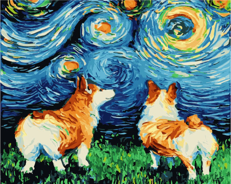 Painting By Numbers PK 38034 Colorful Corgi 40*50