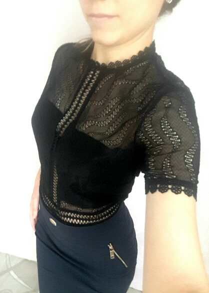Summer Black Short Sleeve Lace Bodysuits Woman Turtleneck Patchwork Hollow Out Female Lady White Sheer Body Top Clothes photo review