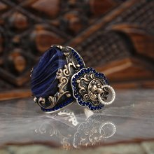 925 sterling silver men ring real stone Jewelry fashion vint