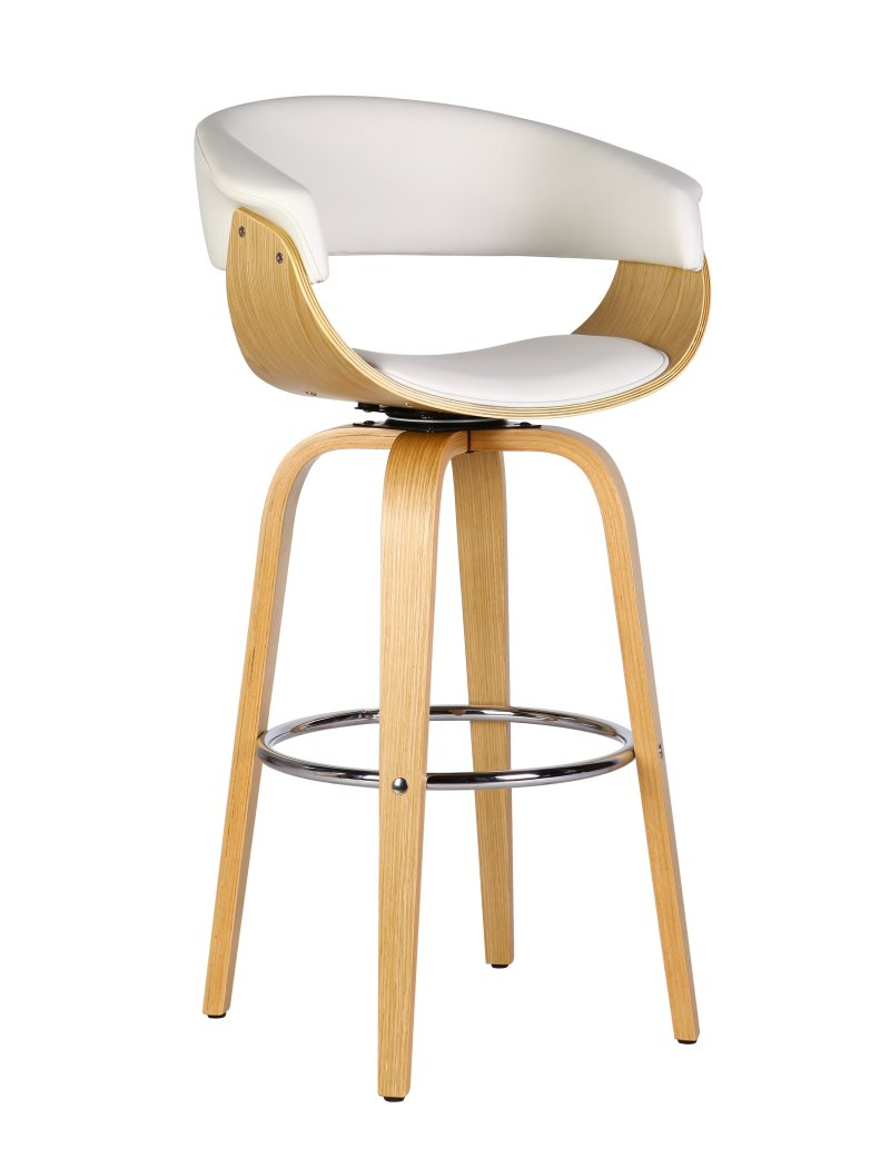 Stool MUNICH, 4 Legs, Rotatable, Maple Wood, Similpiel White