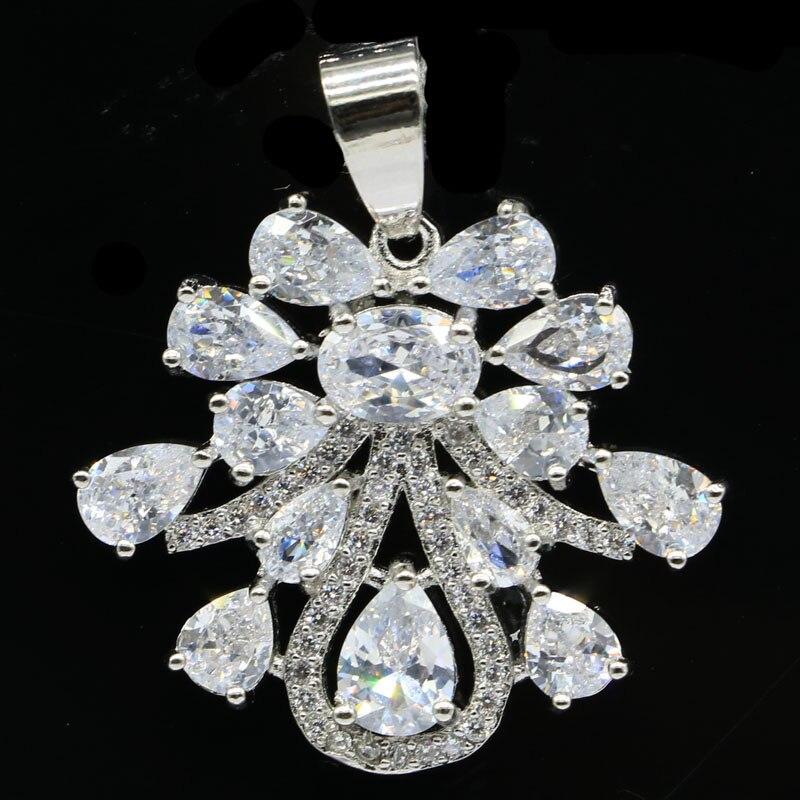 32x23mm Charming Created White Sapphire CZ Woman's Wedding Silver Pendant