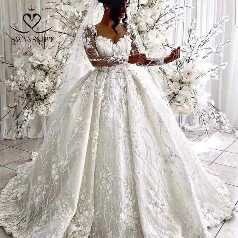 Luxury 3D Flowers Wedding Dress Swanskirt XZ23 Long Sleeve Appliques Beaded Lace Ball Gown Princess Bridal Gown Vestido De Noiva