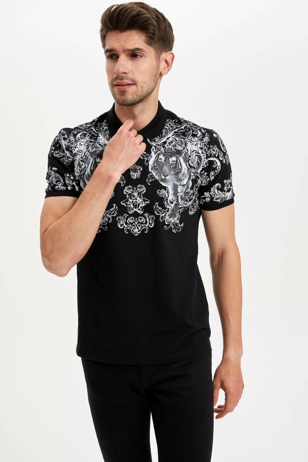 DeFacto Man Cool Image Print Black Polo Shirts Men Casual Short Sleeve Top Tees Male Summer Polo Shirt-L7501AZ19HS