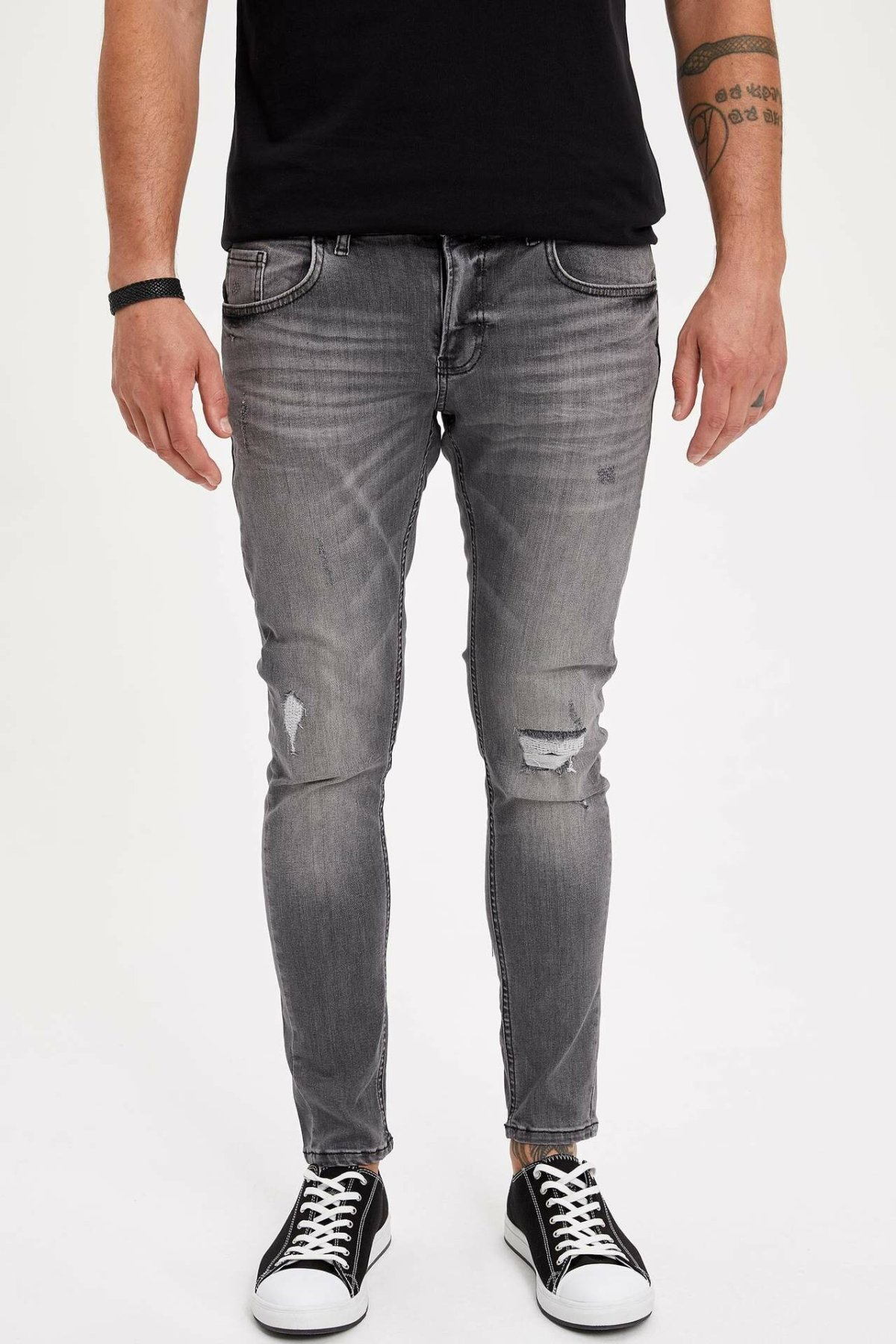 DeFacto Man Fashion Worn Gray Simple Trousers Jeans Casual Classic Slim Denim Jeans Casual Elasticity Pants Male -M0324AZ19SM