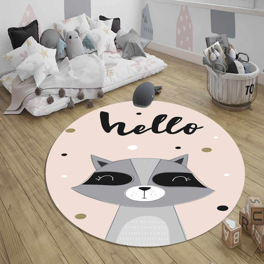 Else Pink Gray Hearts Raccoon Animal Nordec 3d Pattern Print Anti Slip Back Round Carpets Area Rug For Kids Baby Children Room