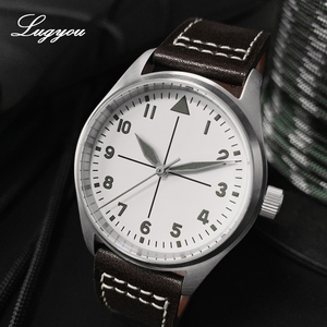 Image 3 - Lugyou San Martin Pilot Men Watch Automatic Stainless Steel 20ATM Leather Strap 39mm Sapphire Waterproof White Face Super Lum
