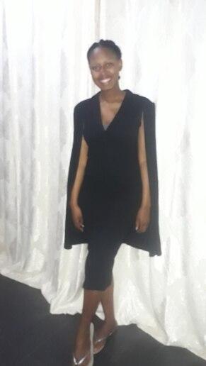Black Cape Sleeve Deep V Neck Shawl Surplice Collar Split Hem Pencil Bodycon Maxi Dress Women Spring Elegant Party Dresses photo review