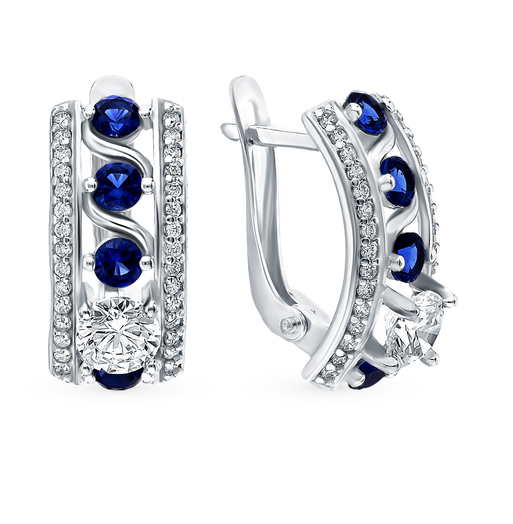 Silver Earrings With Sapphires And Cubic Zirconia Sunlight Sample 925