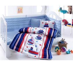 Gemaakt in Turkije SAILOR Baby Baby Crib Beddengoed Set Bumper Voor Jongen Meisje Nursery Cartoon Babybedje Katoen Zachte Antiallergische blauw