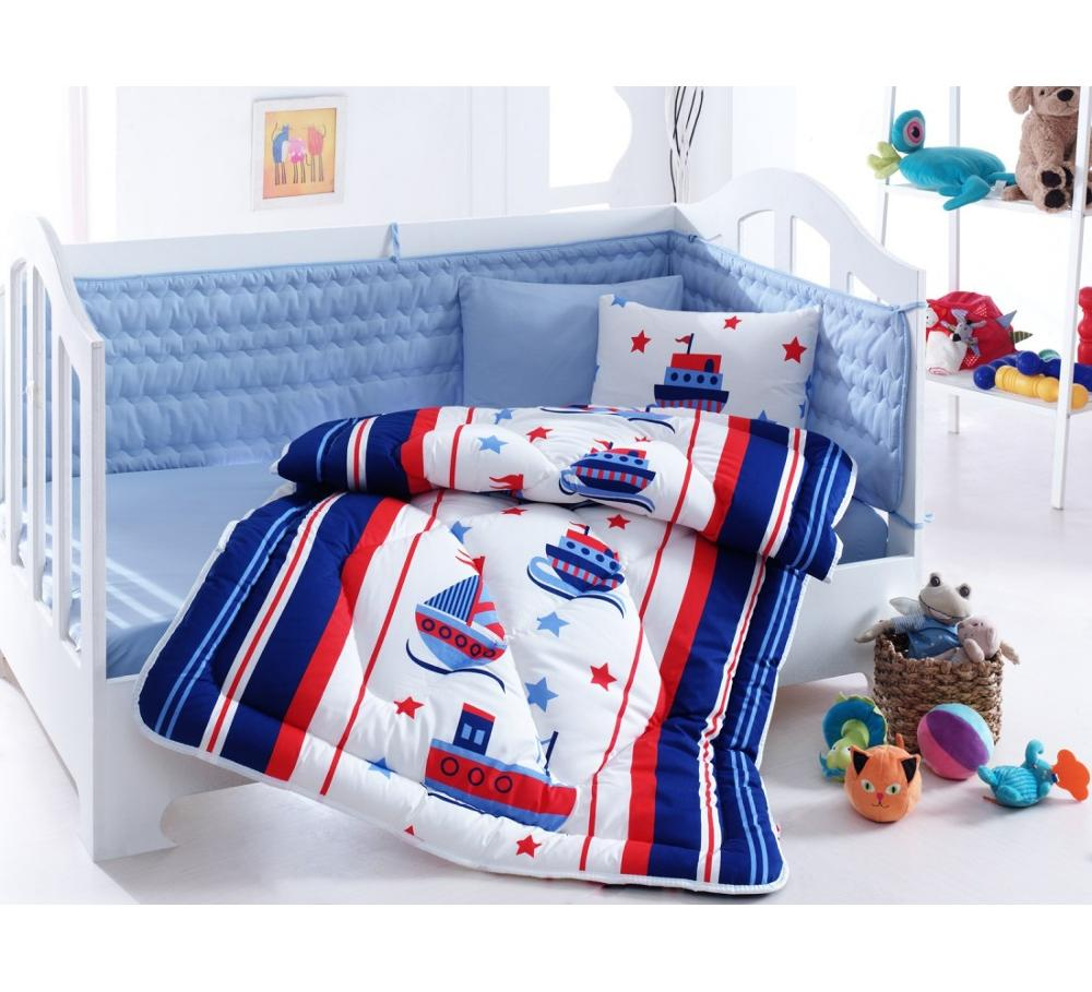Made In Turkey SAILOR Infant Baby Crib Bedding Set Bumper For Boy Girl Nursery Cartoon  Baby Cot Cotton Soft Antiallergic Blue