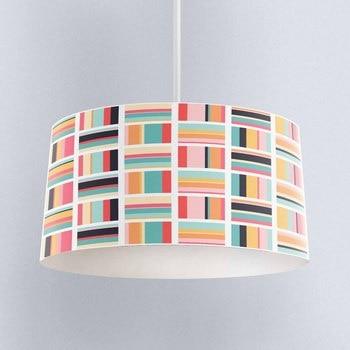 Else Blue Green Orange Lines Geometric Digital Printed Fabric Chandelier Lamp Drum Lampshade Floor Ceiling Pendant Light Shade