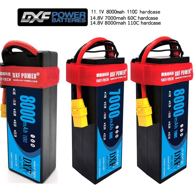 DXF 2S 3S 4S Lipo Battery 7.4V 11.1V 14.8V 5200mah 6500mah 7000mah 8000mah 50C 100C 60C 120C 110C 220C For Akku 1/8  Buggy Car