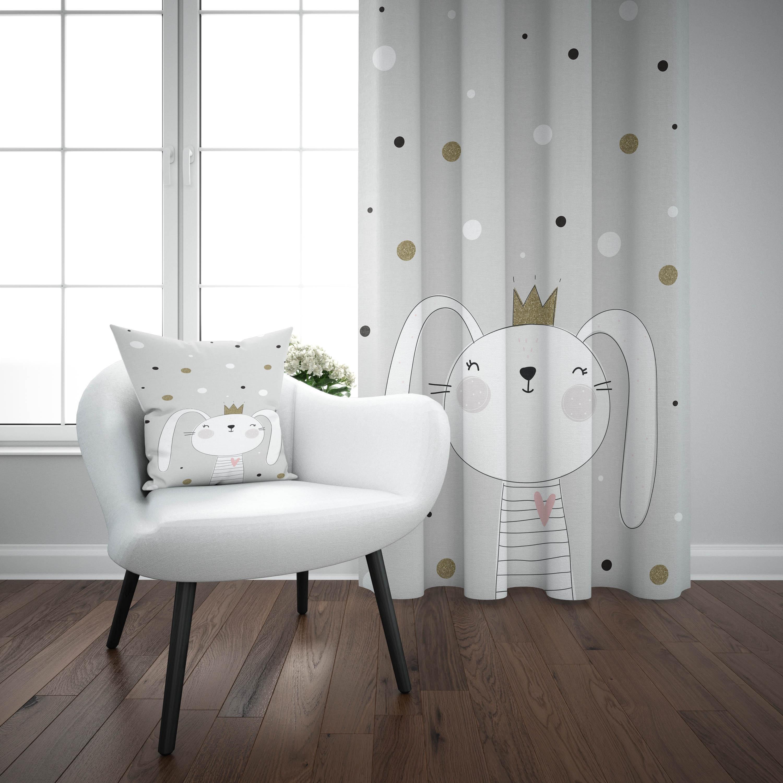 Else Black Gray White King Rabbit Stars 3d Print Kids Baby Children Window Panel Set Curtain Combine Gift Pillow Case