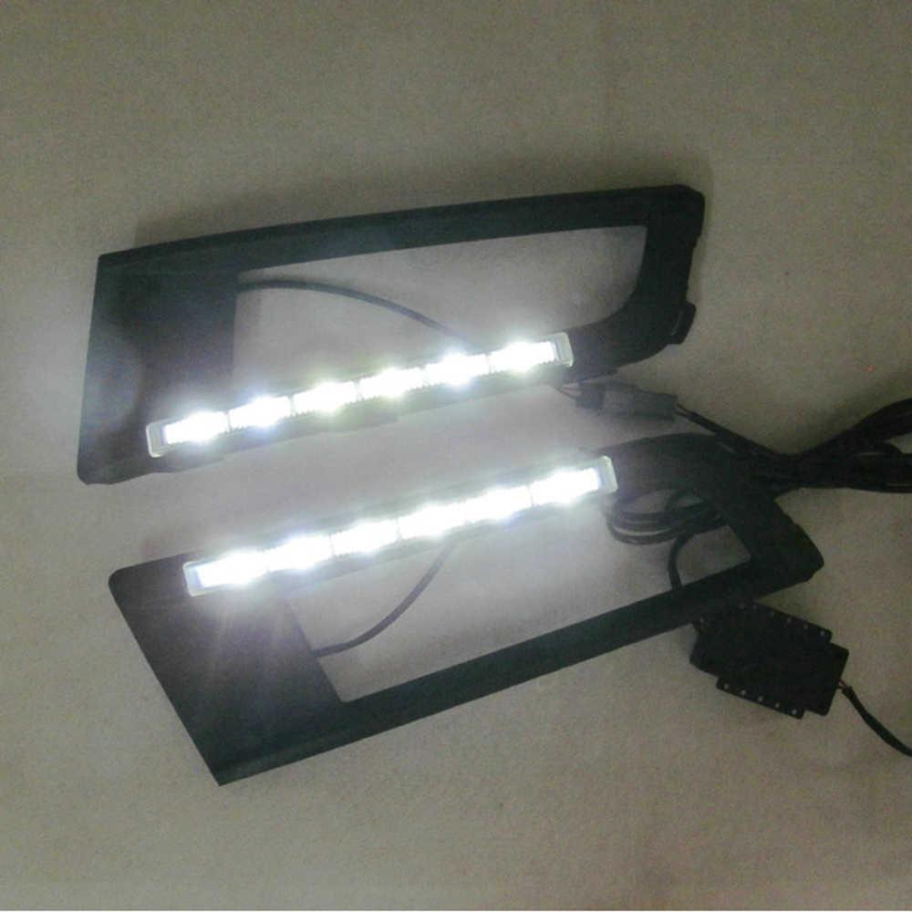 ECAHAYAKU سيارة التصميم DRL12V لفولكس واجن سانتانا 2013 2014 2015 الصمام النهار تشغيل أضواء بار النهار الضباب مصباح لمبة إضاءة