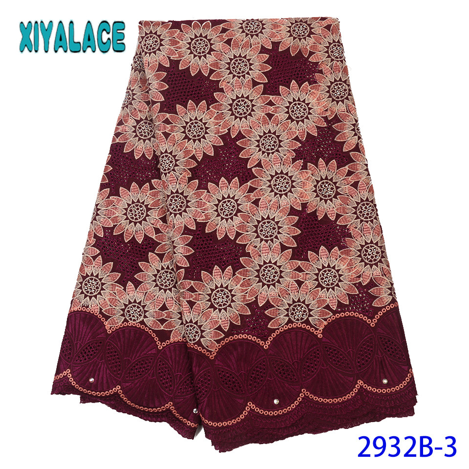 Latest African Laces 2019 High Quality Swiss Voile Lace Fabric Nigerian Cotton Embroidery Lace With Stones Hollow Out KS2932B-3
