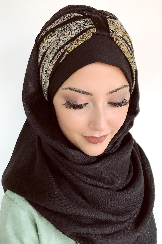 Yeni Moda Başörtüsü Müslüman Başörtüsü İslami Kıyafet Türban Şapka Fular Kırçıllı Sarı Pembe Çizgili Büzgülü Hazır Şal