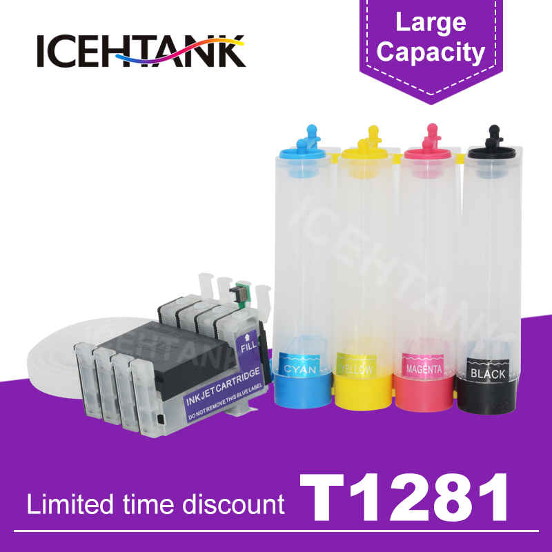 ICEHTANK T1281 - 4 Continuous Ciss Ink Tank For <font><b>Epson</b></font> Stylus S22 SX125 SX130 SX435W SX438W SX440W SX445W BX305F <font><b>BX305</b></font> Printer image