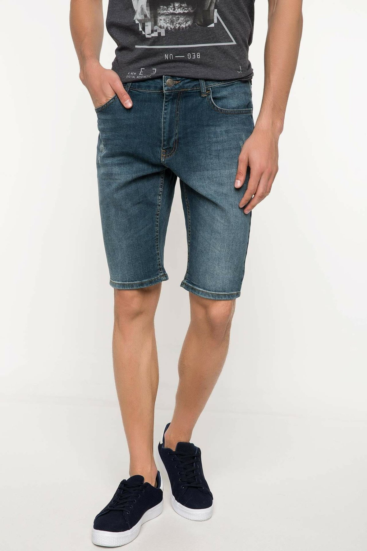 DeFacto Man Summer Blue Denim Shorts Men Casual Washed Skinny Denim Shorts Male Bermuda Bottoms-I8799AZ18SM