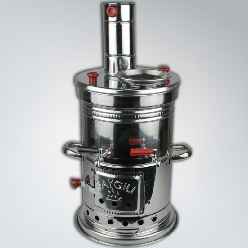 Stainless Wood Coal Charcoal Stove Samovar For Camping Hunting Picnic Coffee Tea Soup Maker Steel-3.5 Lt  / 5  Lt CapacitY