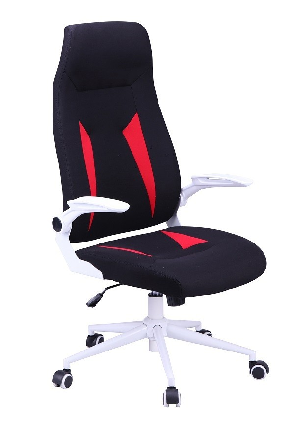 Office Armchair WORLD, High, Gas, Tilt, Black Fabric With Red