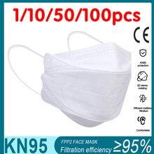 Masque ffp22 blanc pour adultes, lot de 1/100 pièces, pour poissons adultes, accessoire de protection pour la bouche, ecologique KN95