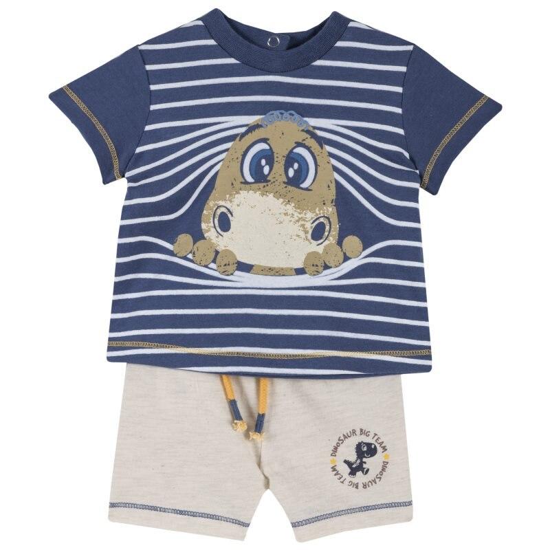 Фото - Set T shirt and shorts Chicco, size 080, print динозаврик (blue sand) set t shirt and shorts chicco size 080 print pirates white and black