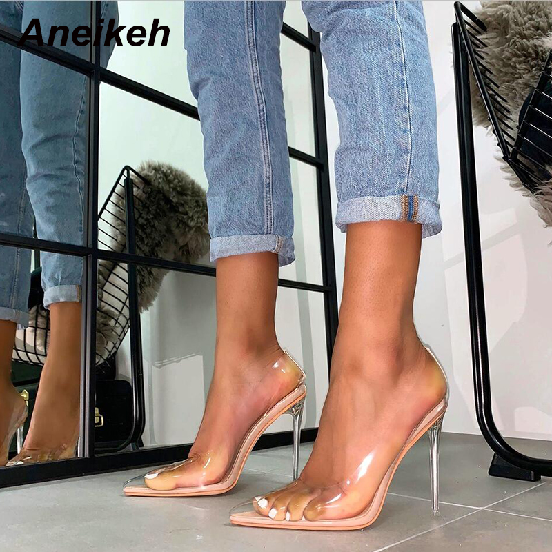 Aneikeh Spring Summer Clear Plastic Transparent PVC Pumps Club Party Shoes Fashion Sexy Party Fine Heel Female High Heels Shoes