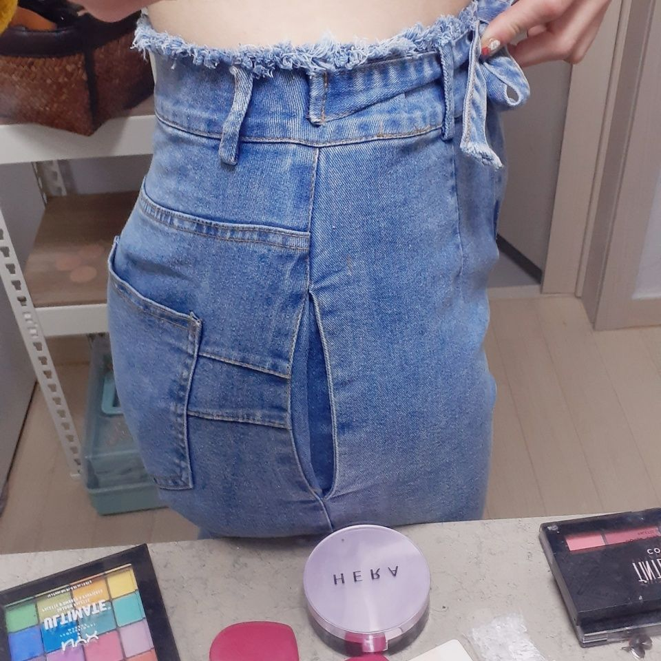 High Waist Jeans For Women Slim Stretch Denim Jean Bodycon Tassel Belt Bandage Skinny Push Up Jeans Woman photo review