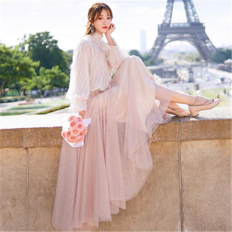 Long-Sleeved Dress Tassel Long-Stand-Up-Collar Autumn Ladies Mesh Splicing Temperament