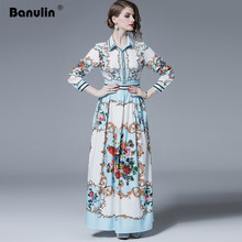 2019 Autumn Runway Maxi Dress Women's Long Sleeve Turn Down Neck Floral Printed Casual Holiday High Waist Long Pleated Dress