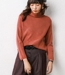 Obrix Female Sweater Turtleneck Autumn Pullover Spring Soft Girls Casual-Style Sweet