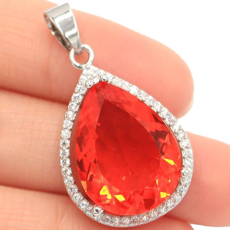 32x19mm Luxury Created Drop Orange Spessartine Garnet Woman's Wedding Silver Pendant