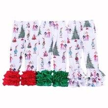 wholesale price new print christmas ruffle baby girls leggin