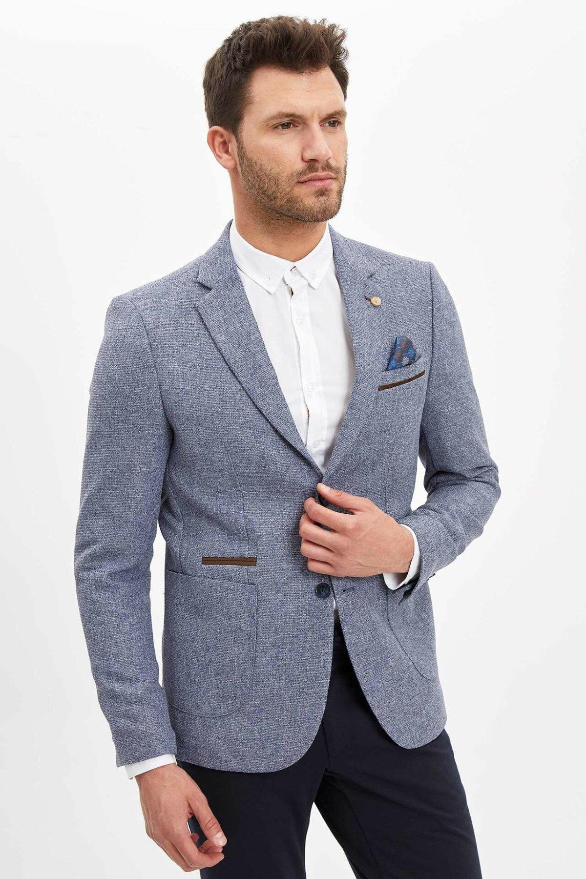 DeFacto Man's Spring Casual Blazer Men's Solid Color Blazer Suits Men's Business Suits Men's Smart Casual Blazer-N0583AZ20SP