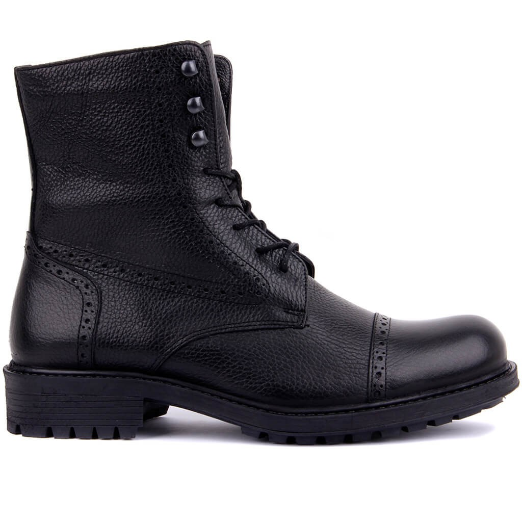 Sail-Lakers Black Leather Zipper Male Boots