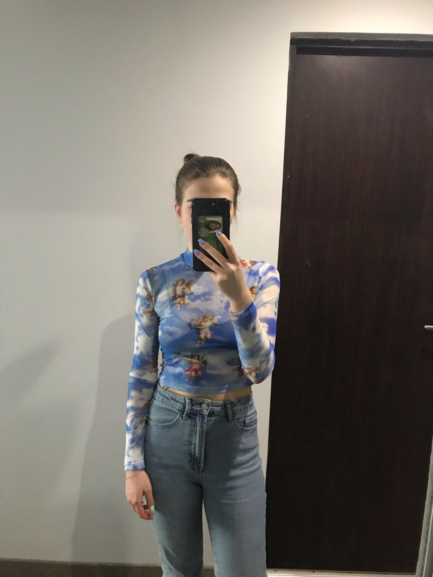 Transparent Mesh Shirt with Angels print photo review