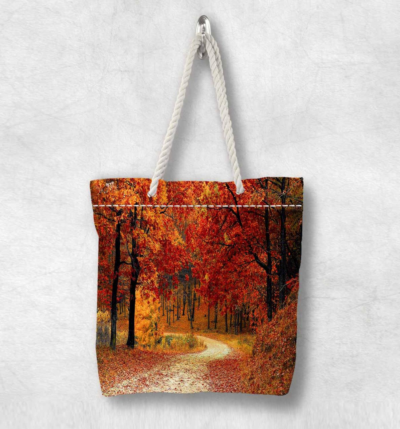 Else Orange Autumn Jungle Trees Way New Fashion White Rope Handle Canvas Bag Cotton Canvas Zippered Tote Bag Shoulder Bag