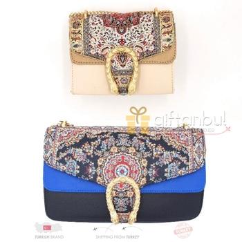 Turkish Traditional Authentic Kilim Design Carpet Design Handbag Shoulder Bag Shopping Bag Vintage Women's Tote Bag