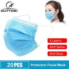 Outtobe פנים פה מגן מסכה חד פעמי להגן על 3 שכבות מסנן Dustproof Earloop לא ארוג פה מסכות