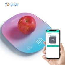Yolanda 5kg akıllı mutfak ölçekli Bluetooth uygulaması elektronik ağırlık ölçekler gıda dengesi tartı ölçme aracı beslenme analizi