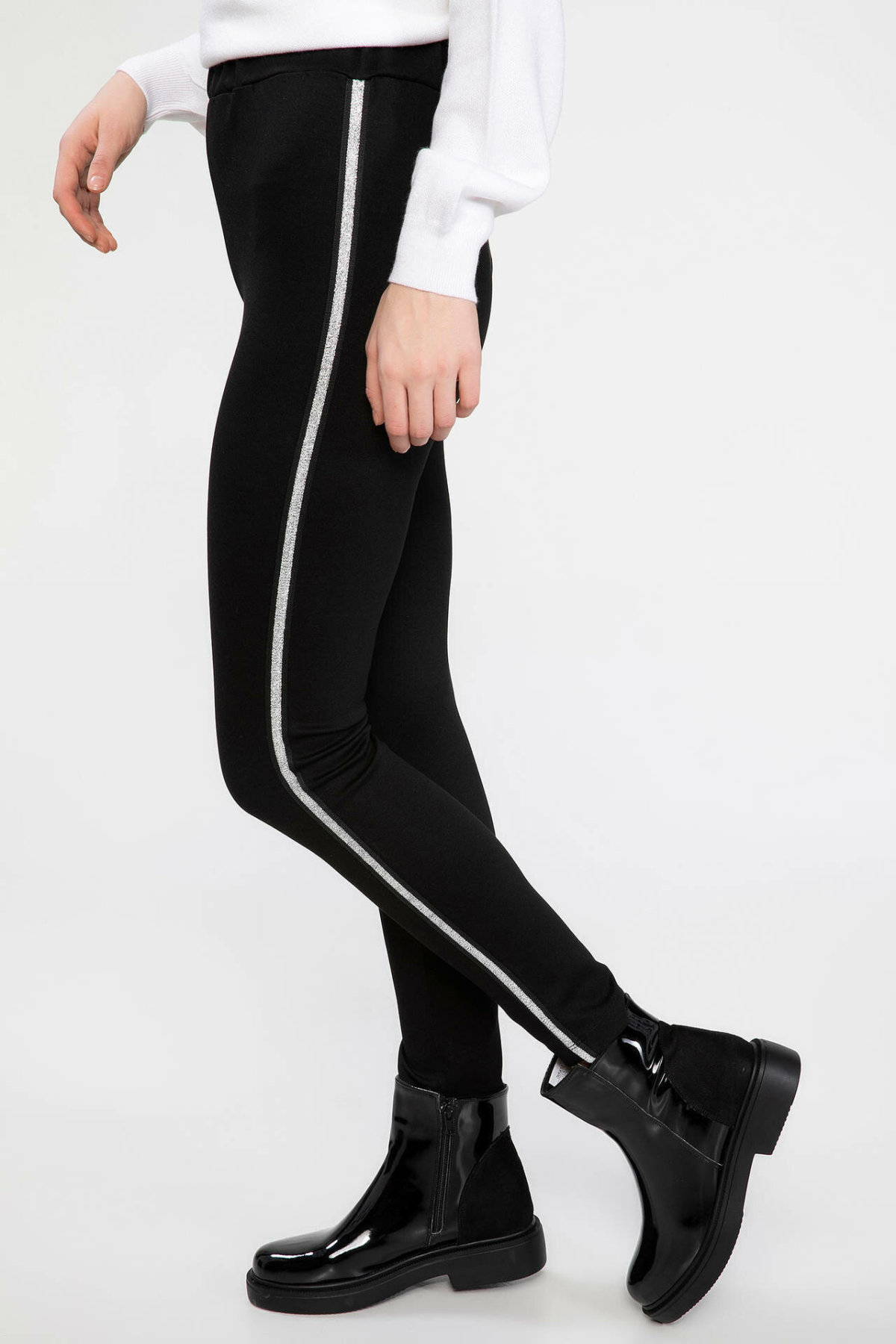 DeFacto Woman Casual Trousers Black Long Pants Women Mid-waist Adjustable Skinny Pants Fit Body Bottoms-K2899AZ18AU