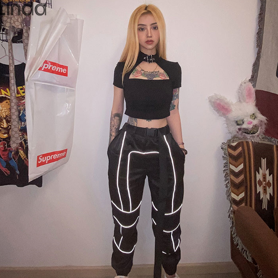 Sisterlinda Autumn Striped Reflective Patchwork Casual Sports Pants High Waist Drawstring Elastic Slim 2019New Harem Pants Mujer
