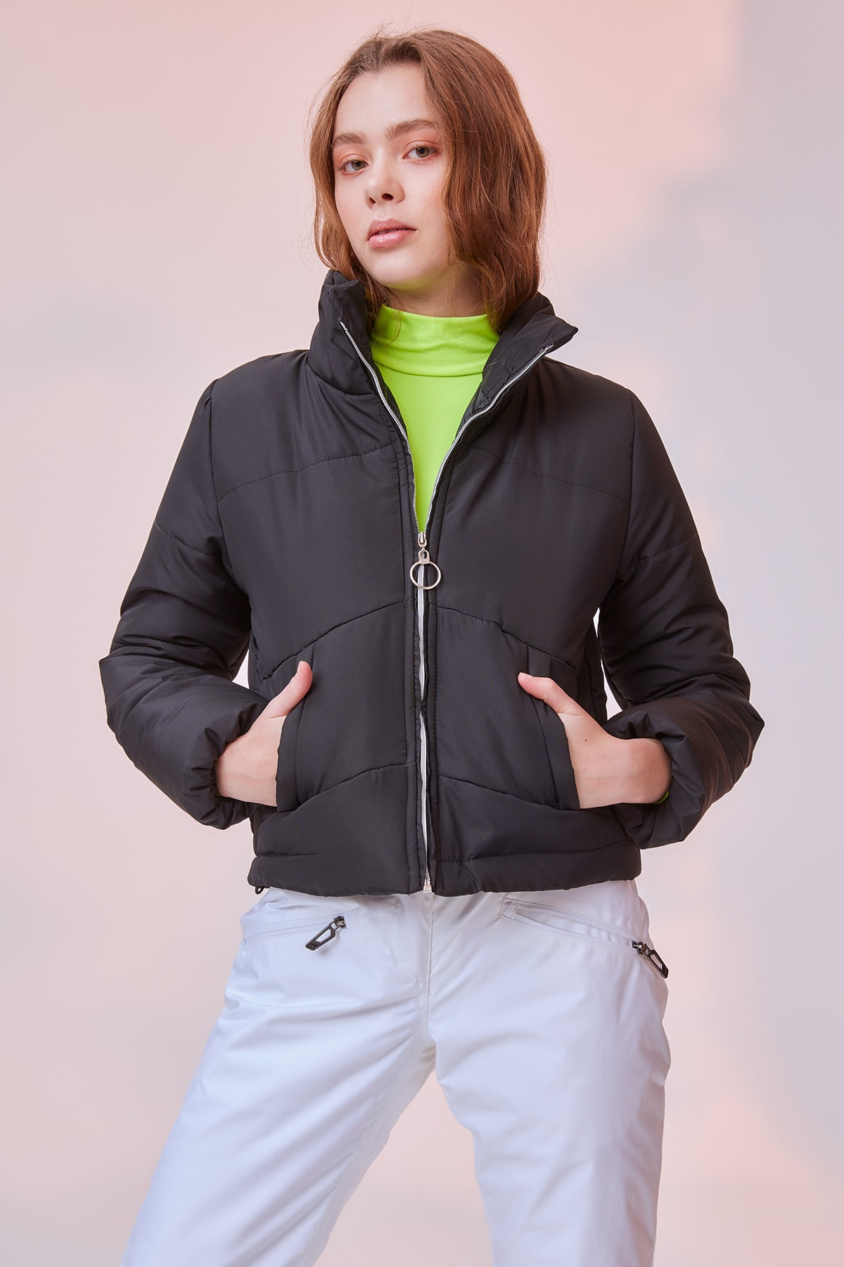Trendyol Neon Highlighter Inflatable Zipper It Should COVER Coats TWOSS20MO0015