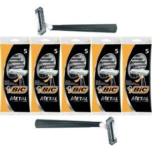 Bic металлические одноразовые бритвы для жесткой бороды, 5 упаковок/25 шт.