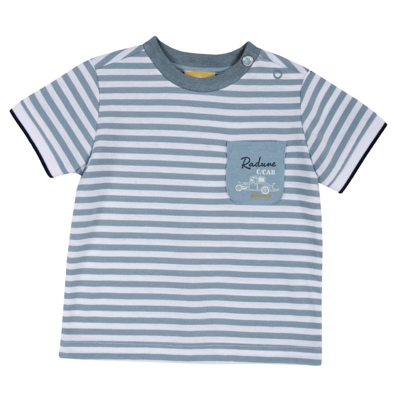 T-shirt Chicco, size 092, white and blue stripe crew neck color block wide stripe print t shirt