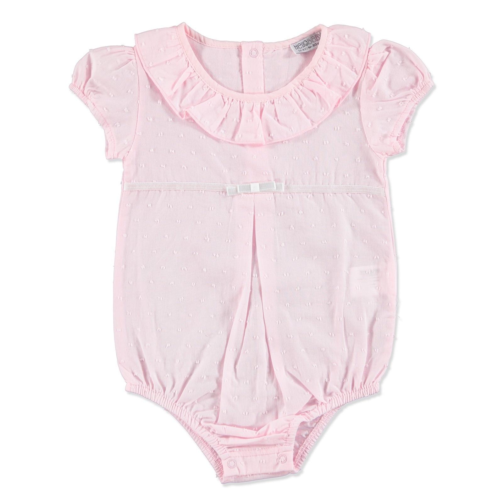 Ebebek HelloBaby Summer Baby The Cutiest Patterned Ruffled Neck Bodysuit
