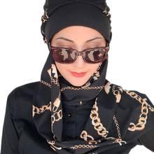 Yeni Moda Başörtüsü Kadın Müslüman Başörtüsü İslami Kıyafet 2021 Türban Müslim Eşarp kemik Şapka Fular Zincir Desen Siyah Bere Şal