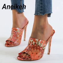 Aneikeh 2020 Summer Flower Canvas Gladiator Sandals Women